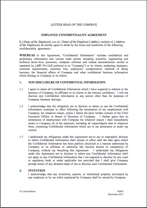company confidentiality policy template non disclosure agreement