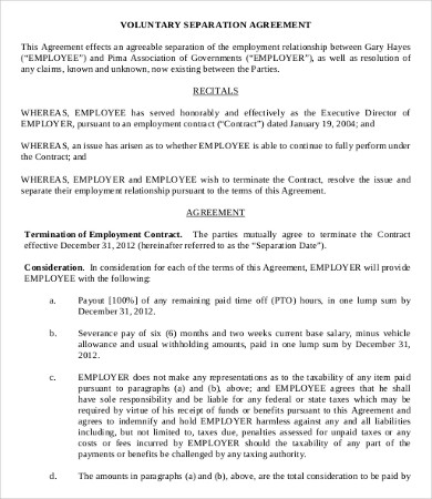 Simple Employment Separation Agreement Template 8+ Free PDF