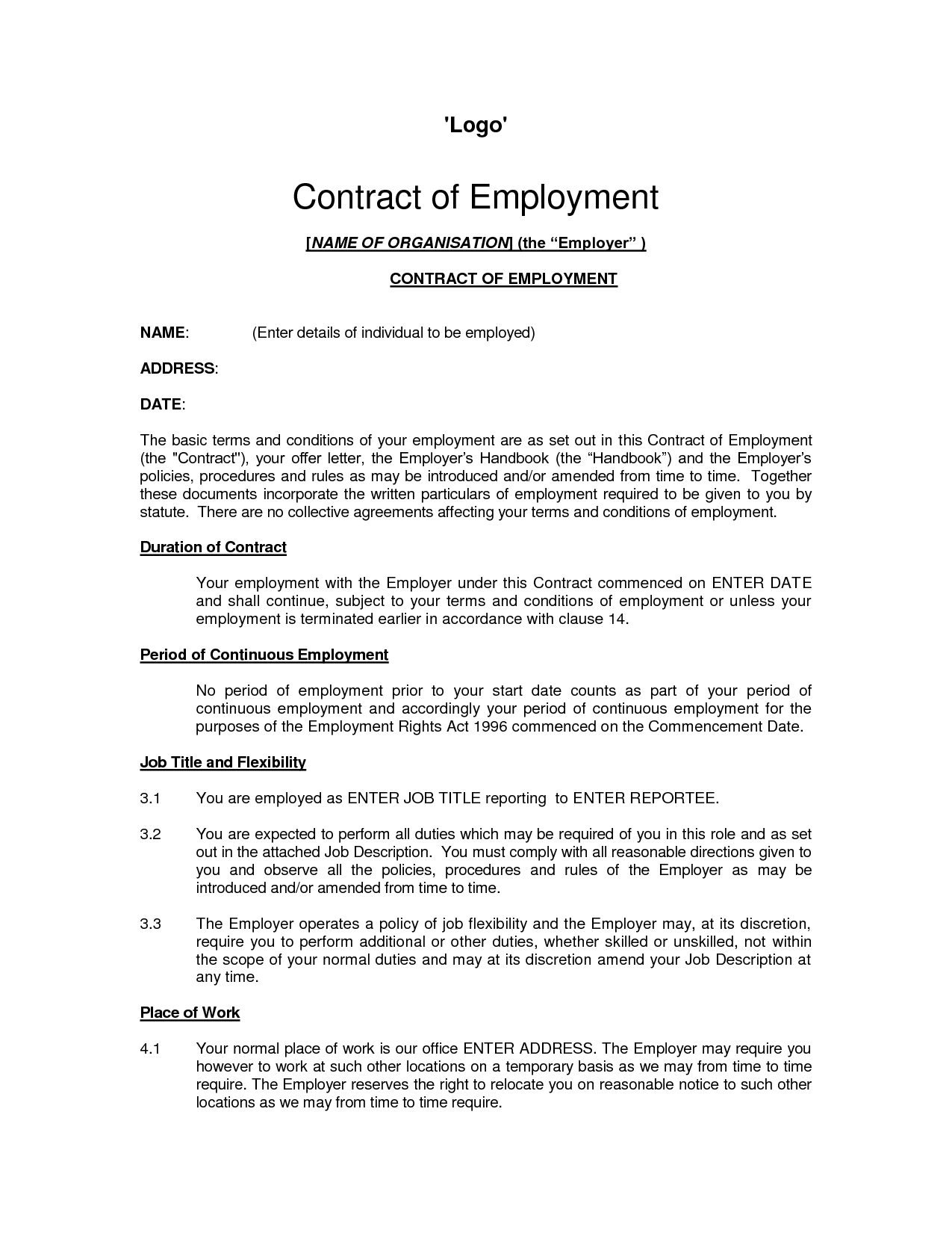 Printable Sample Employment Contract Sample Form | Laywers