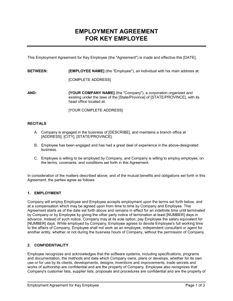 Employment Agreement Key Employee Template & Sample Form