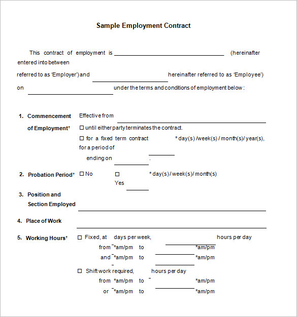 employment agreement template free 17 job contract templates free