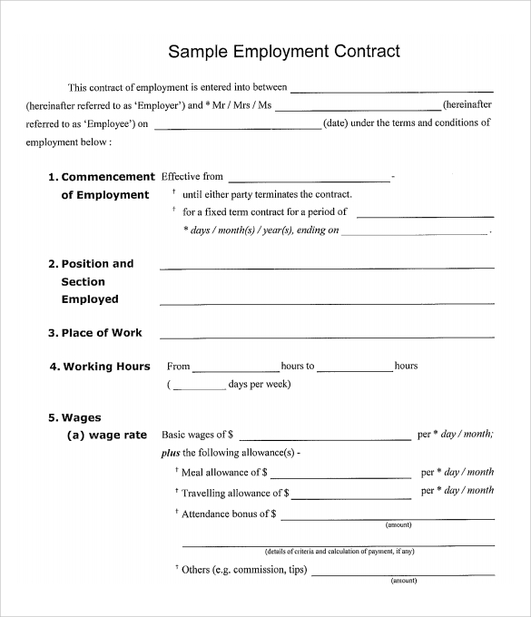 employment contract template free employment template
