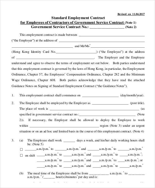 8 Employment Contract Templates Free Sample, Example Format