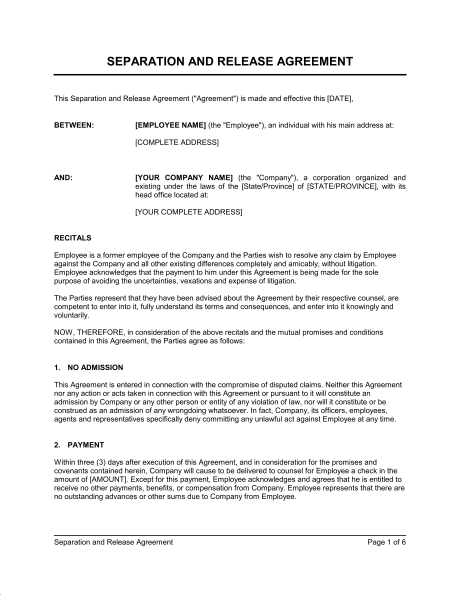 employee separation agreement template release agreement template