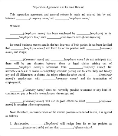 employment separation agreement template simple employment