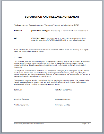 work separation agreement template separation and release