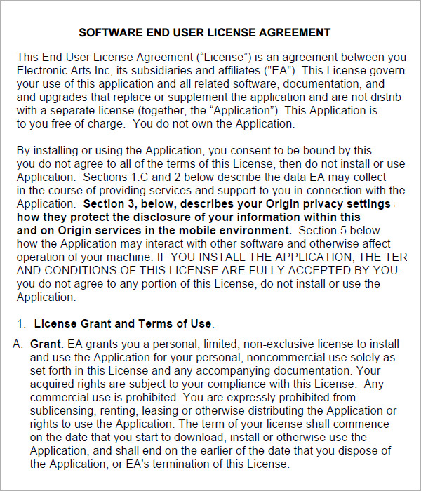 6 Sample Free End User License Agreement Templates | Sample Templates