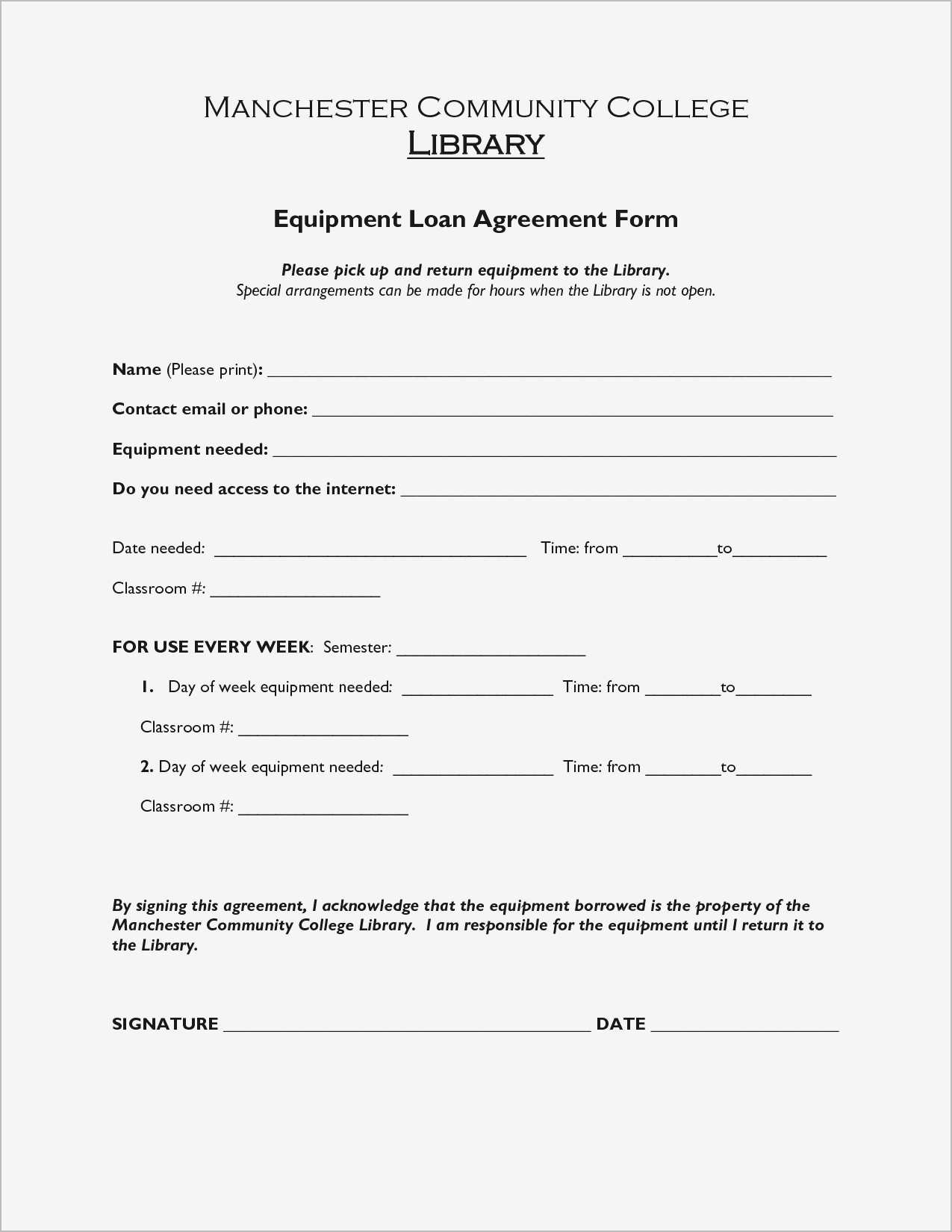 Equipment Loan Agreement Pdf format | Business Document
