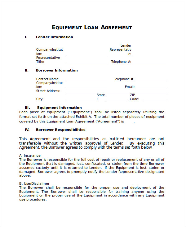 equipment loan agreement template equipment loan agreement