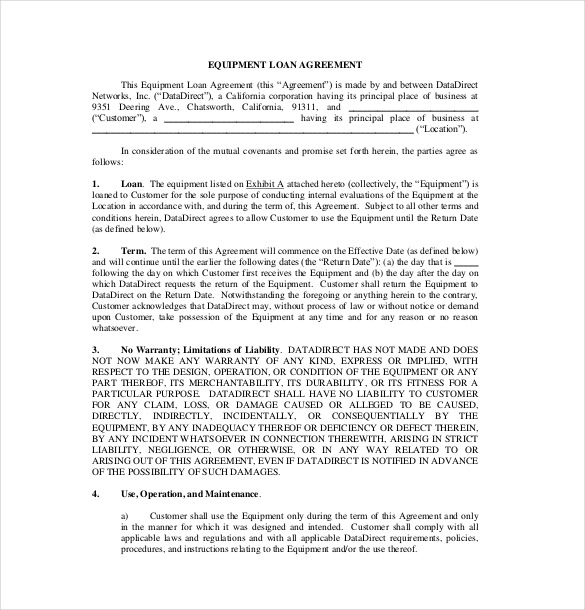 loan agreement template california equipment loan agreement