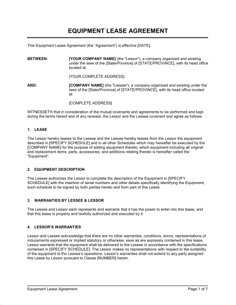 Equipment Rental Contract Fill Online, Printable, Fillable