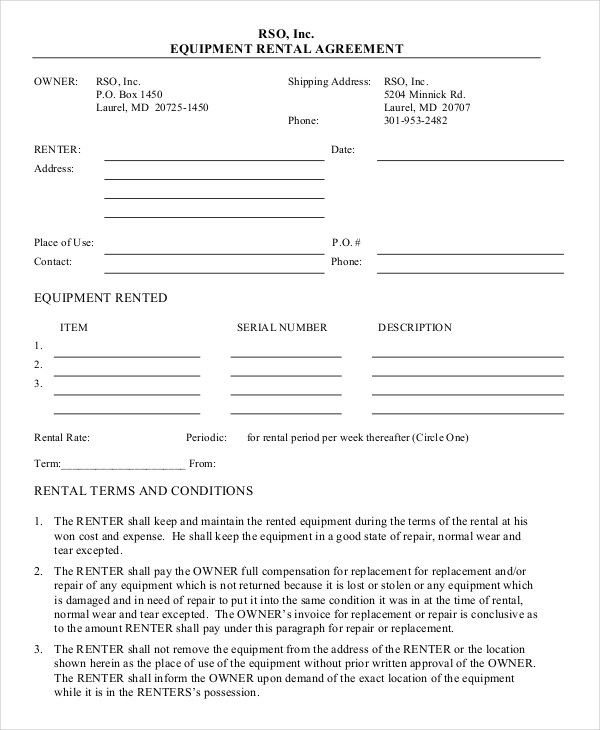 equipment lease agreement template free equipment lease agreement