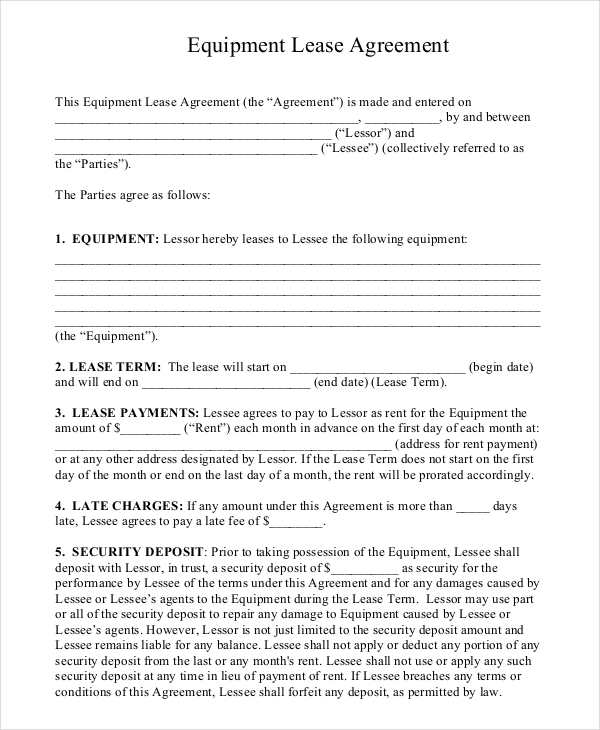 equipment lease agreement template south africa rental agreement