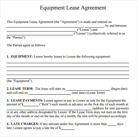 equipment lease agreement template download capital lease