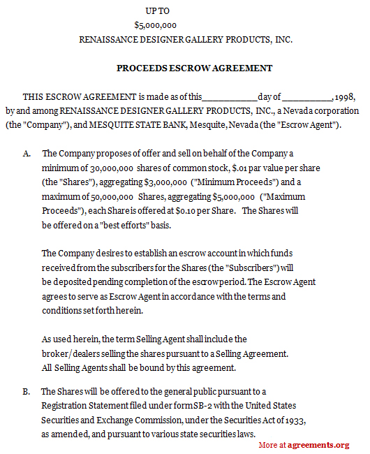 escrow account agreement template best photos of sample escrow
