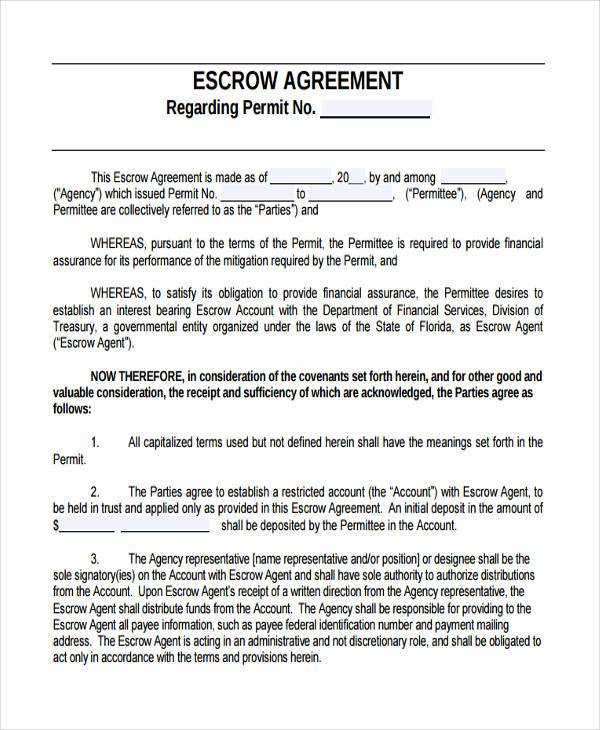 escrow account agreement template escrow account agreement
