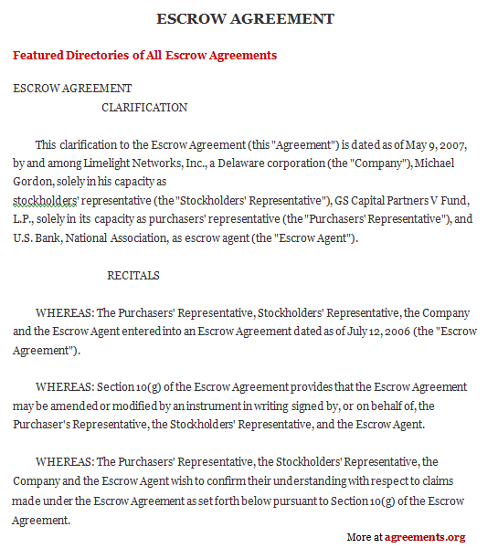 Escrow Agreement Template Free Schreibercrimewatch.org