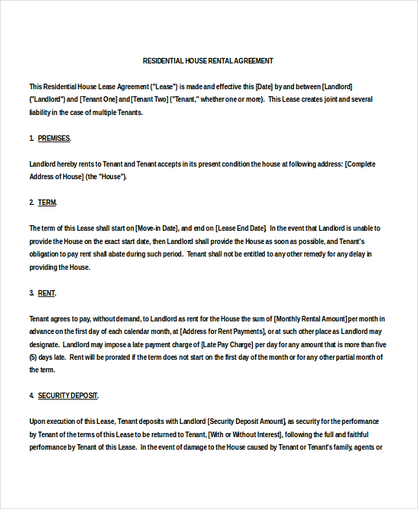 House Rental Agreement Template Schreibercrimewatch.org