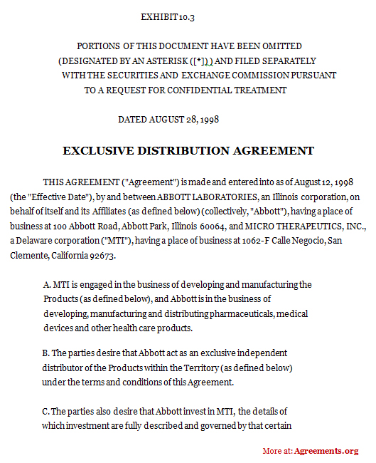 exclusive distribution agreement template exclusive distribution