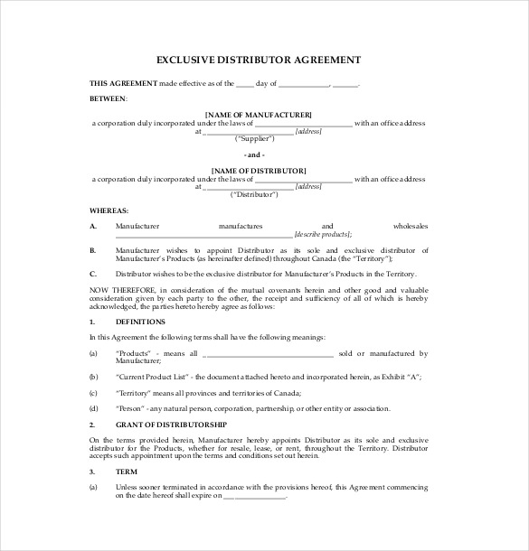 14+ Distribution Agreement Templates – Free Sample, Example
