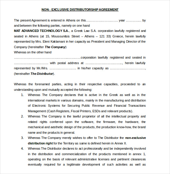 non exclusive distribution agreement template non exclusive