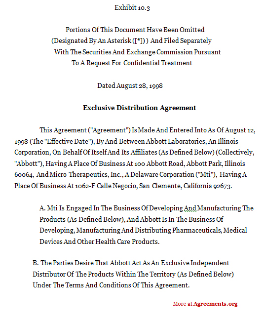 sole distribution agreement template exclusive distribution