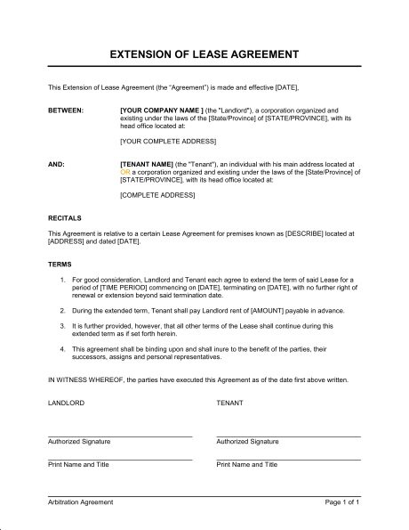office rental agreement template singapore extension of a lease