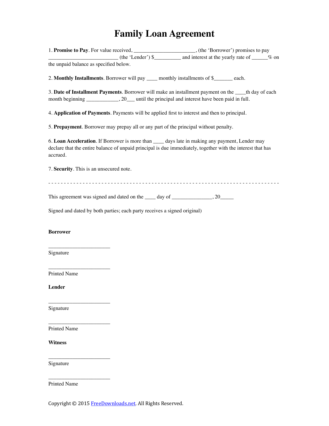 Download Family Loan Agreement Template | PDF | RTF | Word
