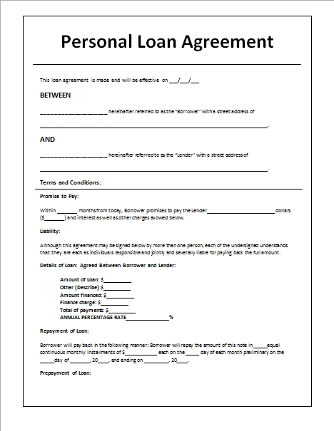 Personal Loan Agreement Template Between Family