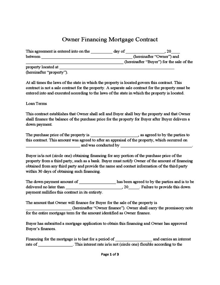 owner finance agreement template mortgage contract template sample