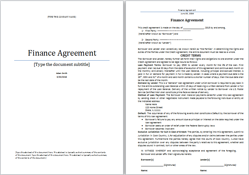 financial agreement template word financial agreement template ms
