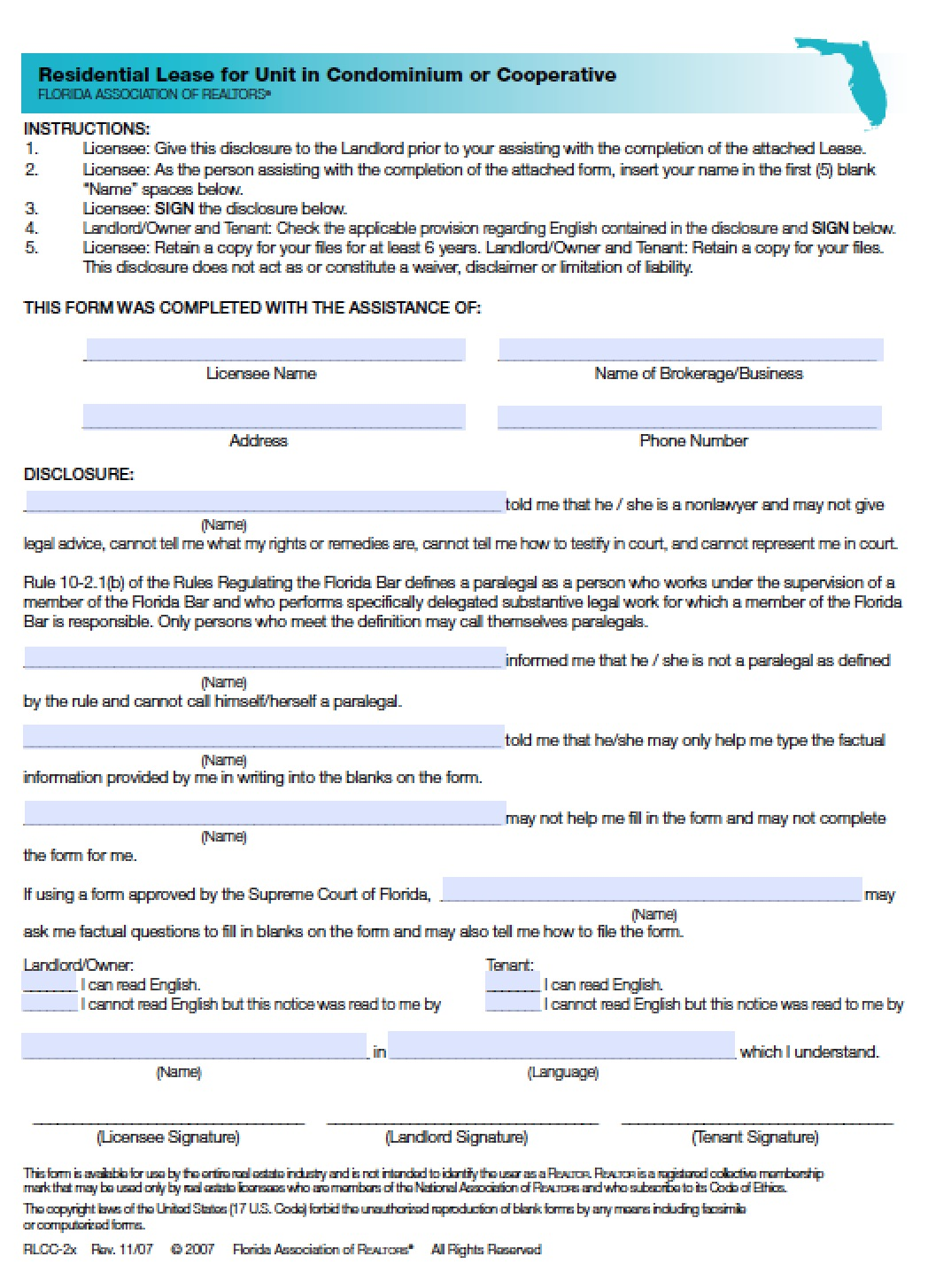 Free Florida Residential Lease Agreement   PDF   Word (.doc)