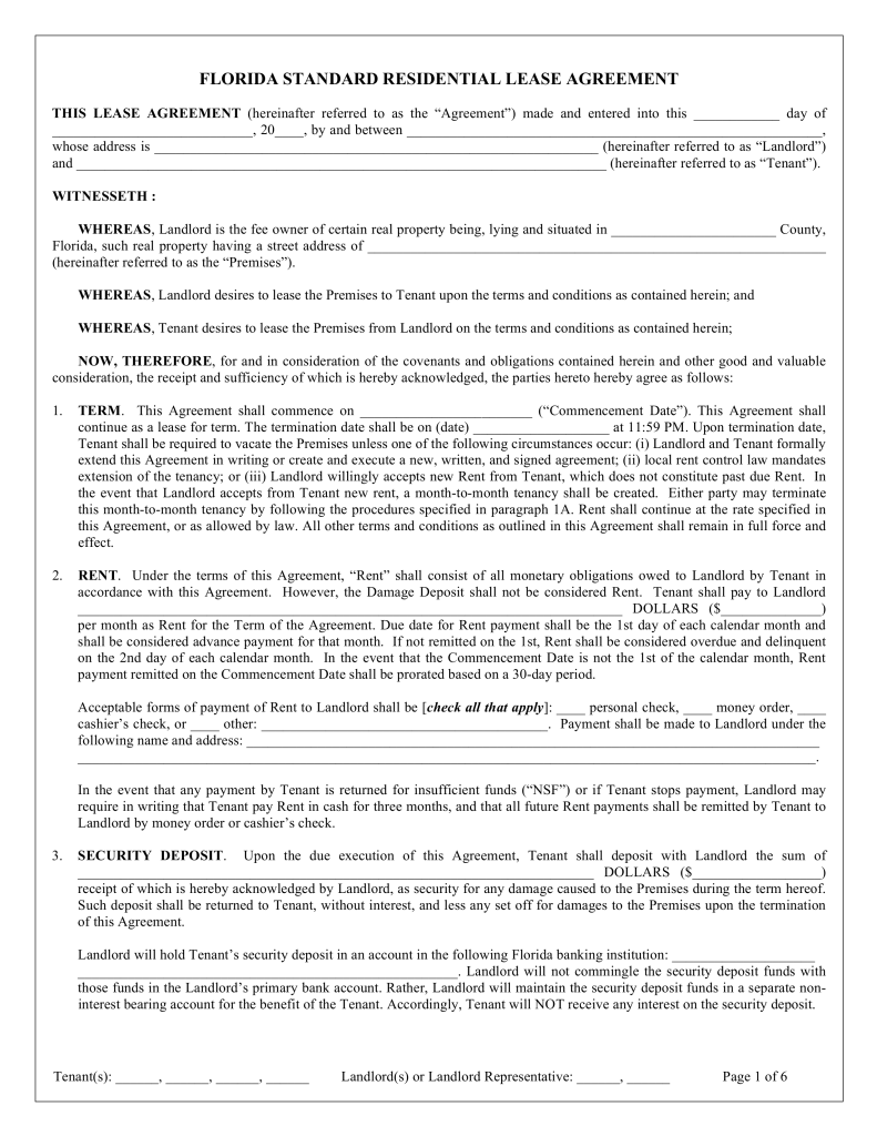 Free Florida Standard Residential Lease Agreement Template Word
