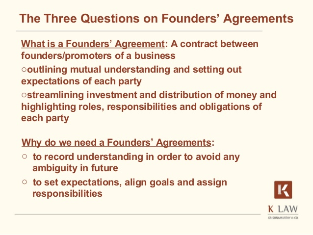 Founders' agreement A critical start for a start up (Naina Krishnam…