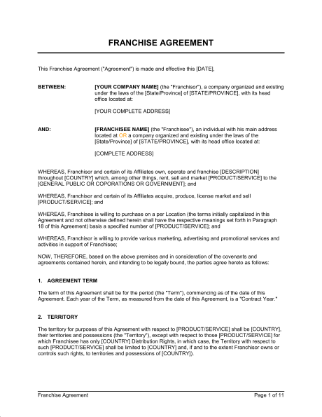 franchise agreement template sample form biztreecom