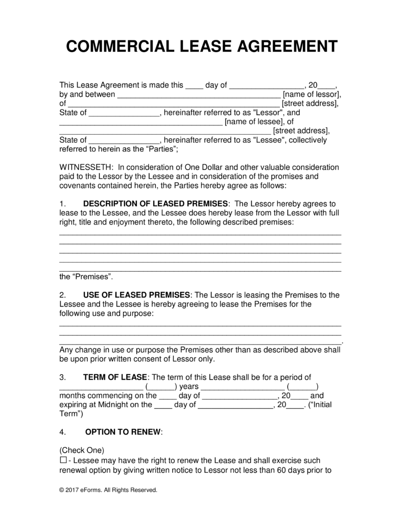 Free Mercial Lease Agreement Word