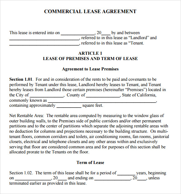 free commercial lease agreement template download free download