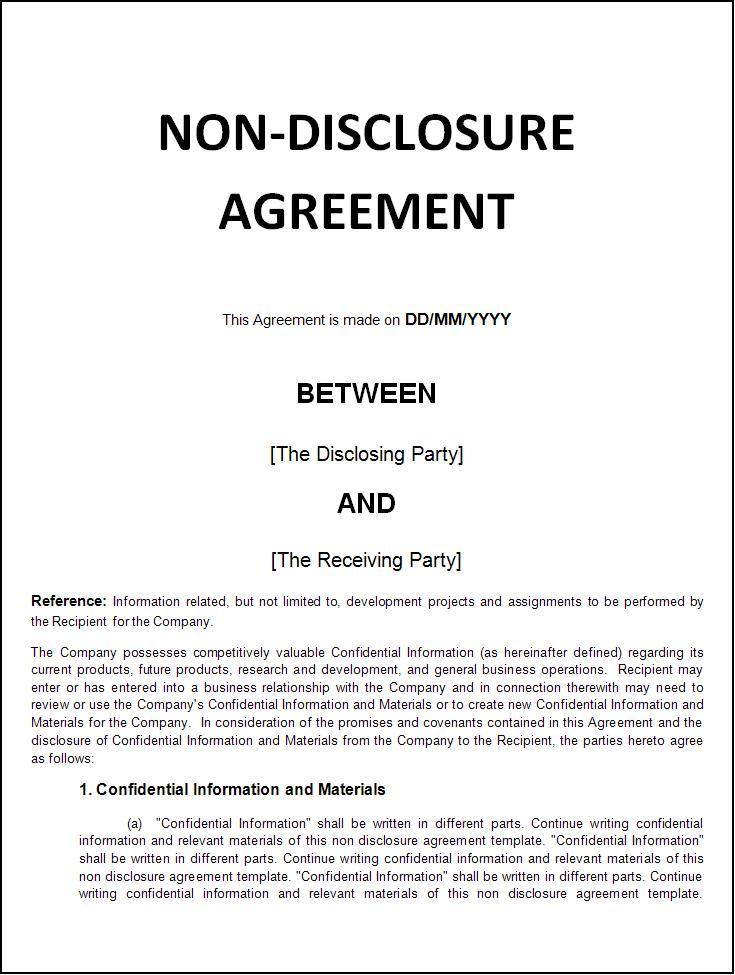 non disclosure confidentiality agreement free template non