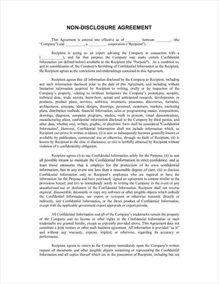 free non disclosure agreement template free legal form non