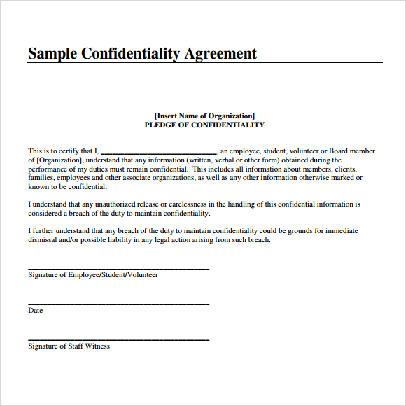 Free Confidential Agreement Template Gtld World Congress