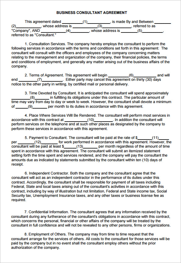 consulting agreement template 9 consulting contract templates free