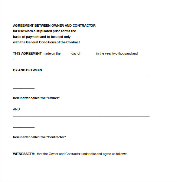 free contractor agreement template contractor agreement template