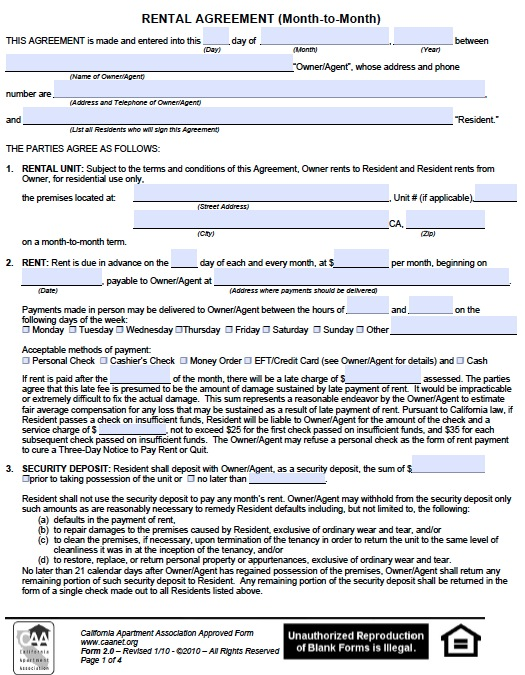 lease agreement california template month rental agreement