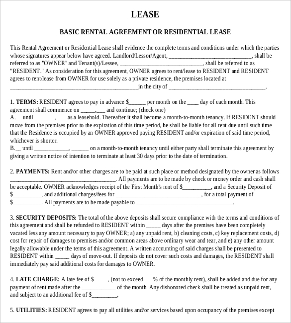 basic lease agreement template free free lease agreement template