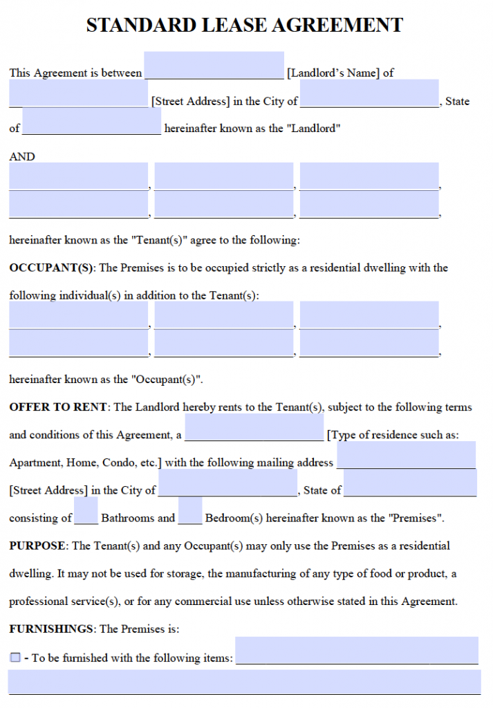 Free Residential Lease Agreements – PDF and Word Templates
