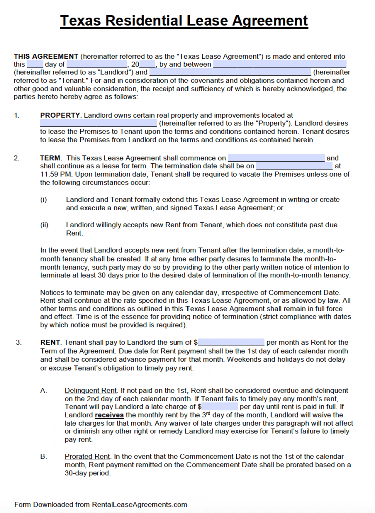 Free Texas Standard Residential Lease Agreement Template – PDF – Word