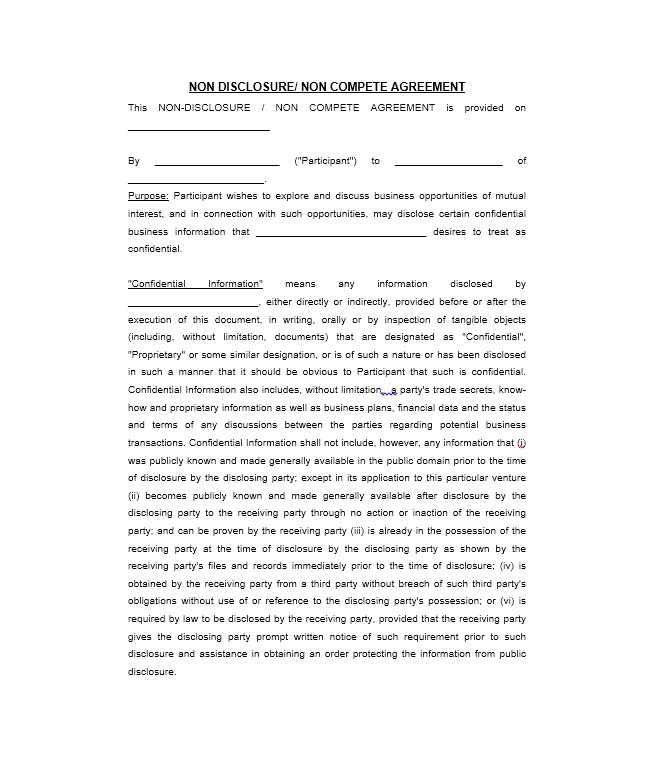 free non disclosure agreement template 40 non disclosure agreement