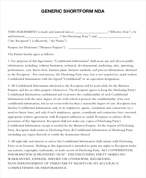 free nondiscloser agreement template nda agreement template free