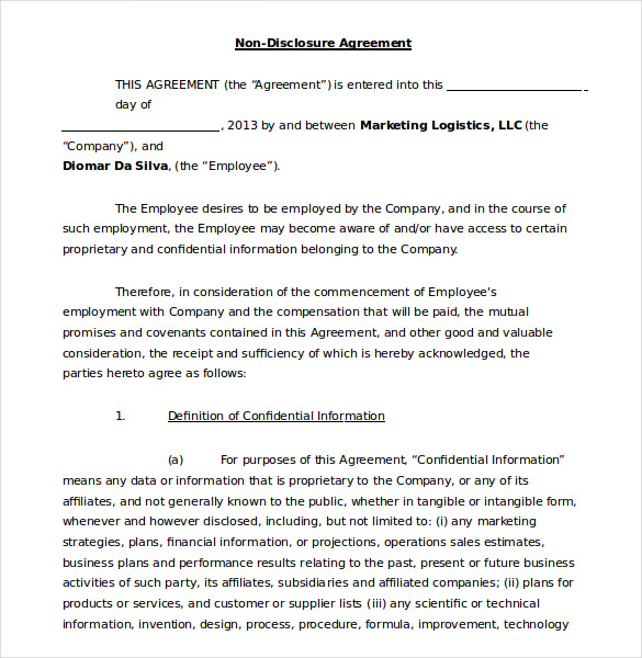free confidentiality agreement template word 19 word non