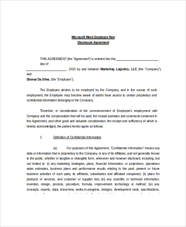 free confidentiality agreement template word employee non